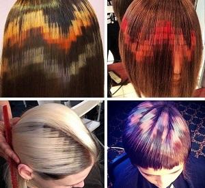 Фото пиксельного окрашивания волос