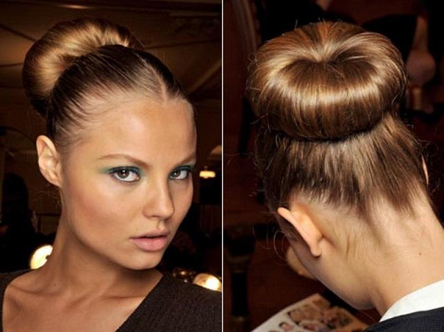 Прическа пучок на волосах